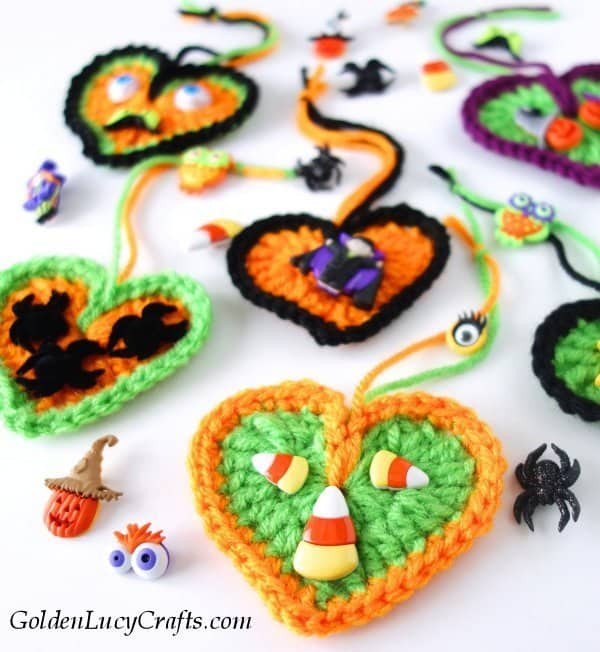 Crochet Halloween decorations, hearts, Halloween tree ornaments