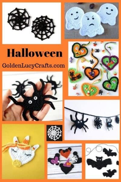 Crochet Halloween decorations, appliques, ideas