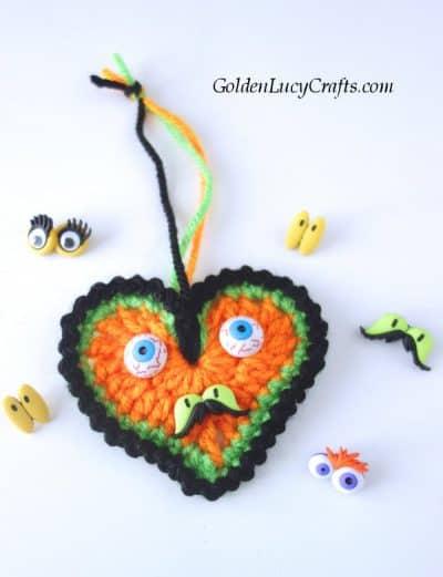 Crochet Halloween decorations, heart ornaments