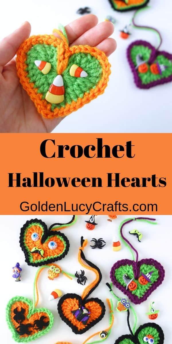 Crochet Halloween decorations, hearts, free crochet pattern