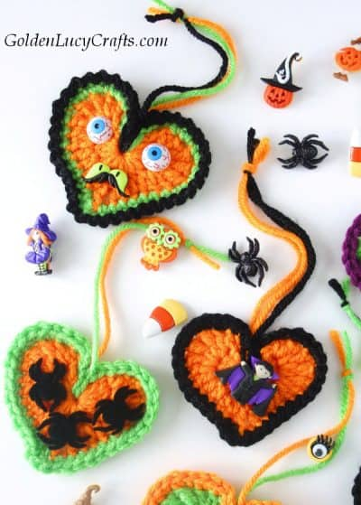 Crochet Halloween decorations, tree ornaments