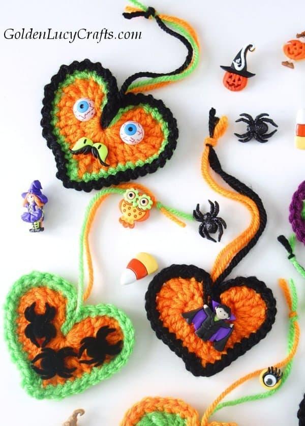 Crochet Halloween decorations, tree ornaments