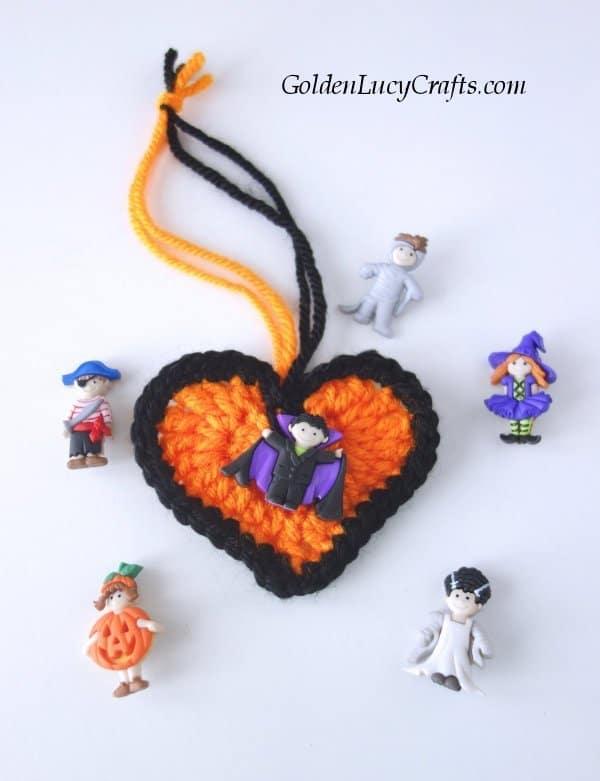 Crochet Halloween heart decorations, ornaments