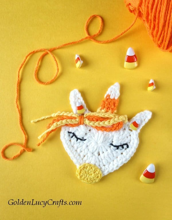 Crochet candy corn unicorn applique, Halloween applique, free crochet pattern