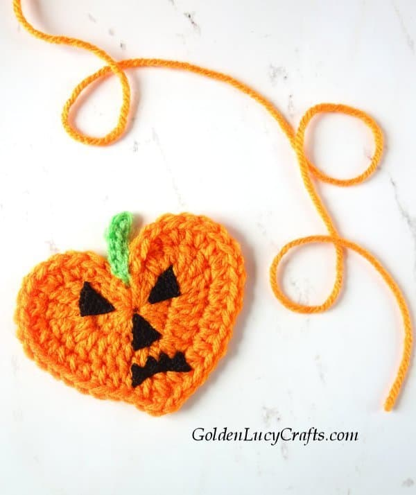 Crochet Jack-O-Lantern applique, Halloween decorations