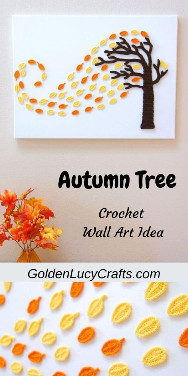 Crochet wall art, Autumn tree, wall decor, wall hanging, canvas