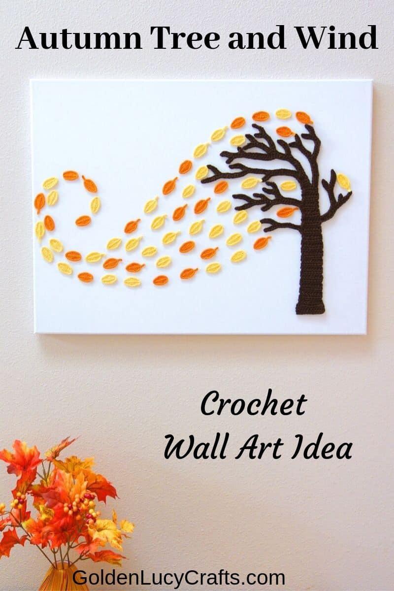 Crochet wall art, Autumn tree, wall decor, wall hanging, canvas