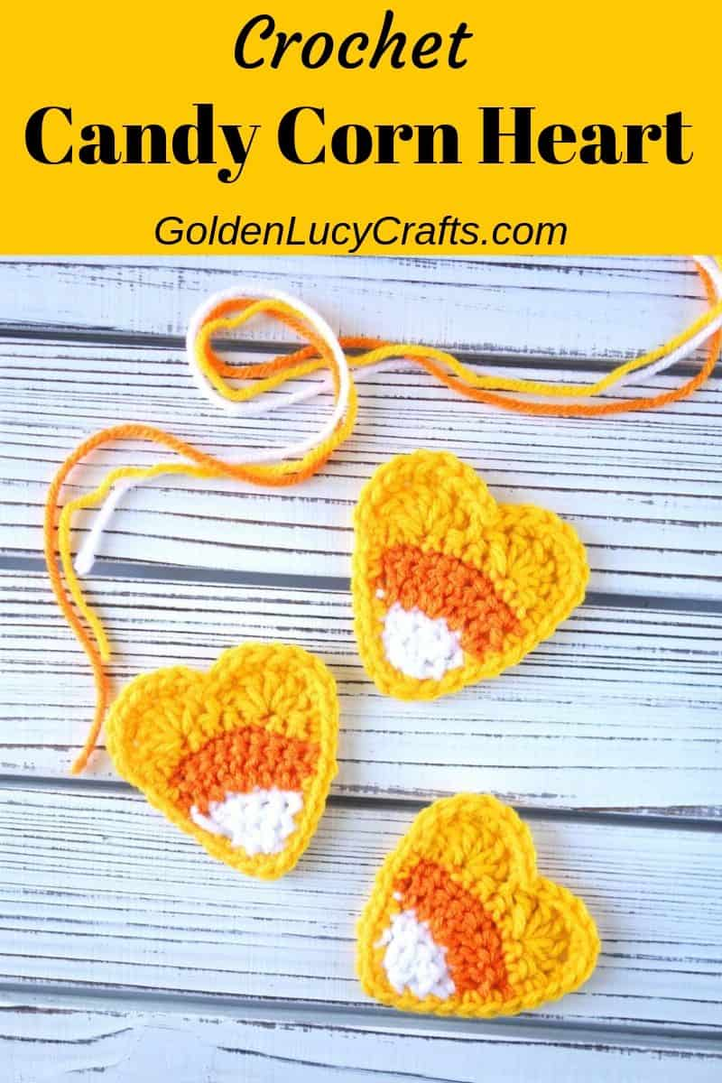 Crochet candy corn applique, heart-shaped, free crochet pattern