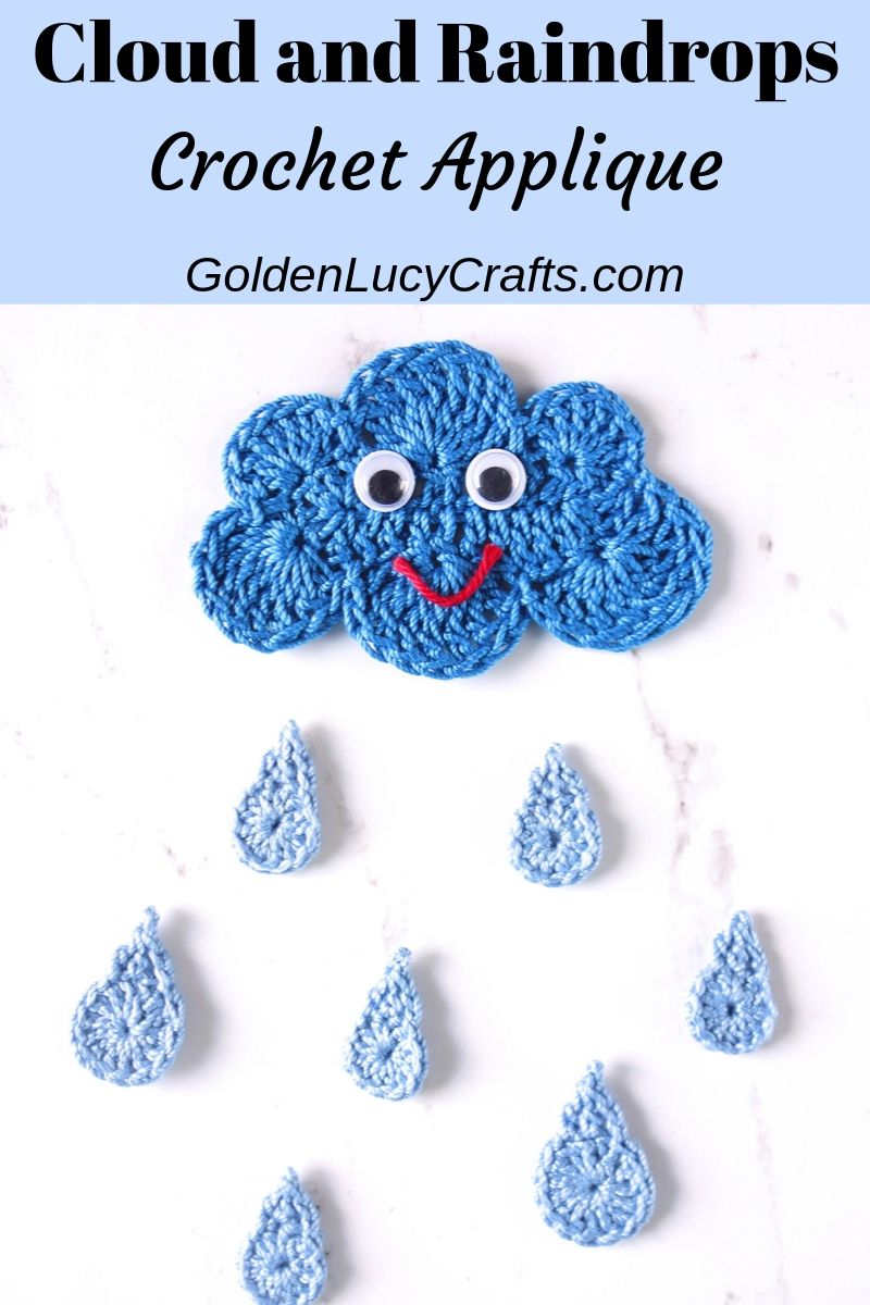 Crochet cloud and raindrops applique, free crochet pattern