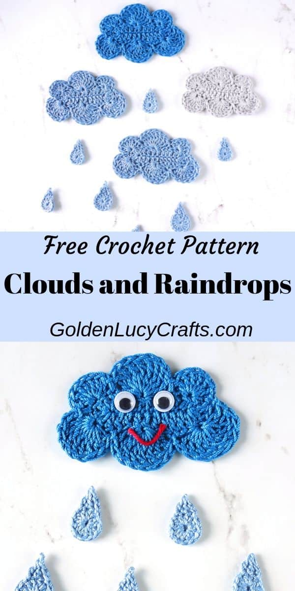 Crochet clouds and raindrops applique, free pattern