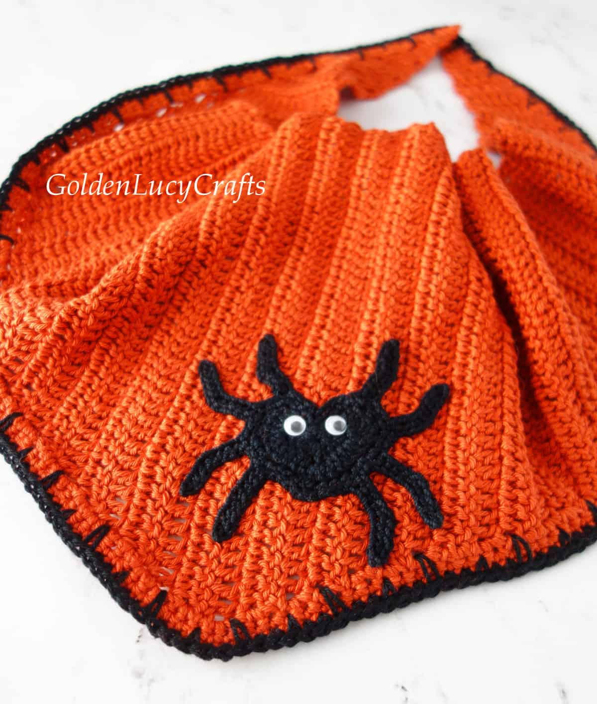Crocheted Halloween dog bandana close up image.