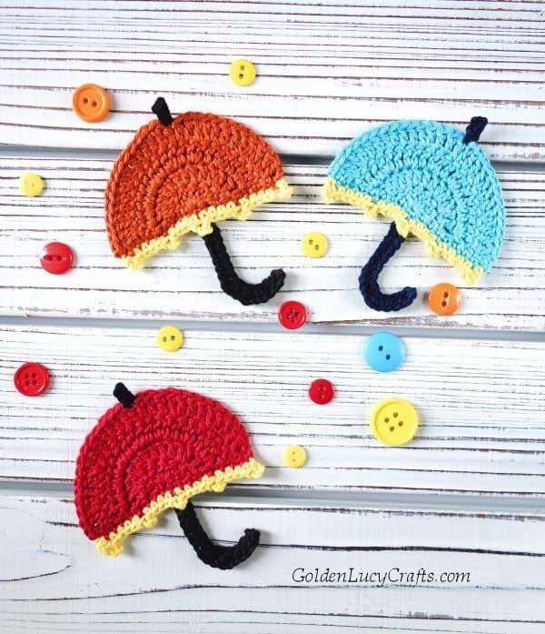 Crochet umbrella applique, free crochet pattern