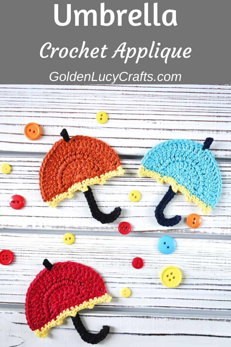 Crochet umbrella applique, free crochet pattern
