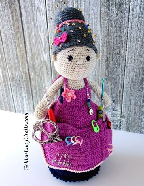 Crocheted doll - crafter organizer
