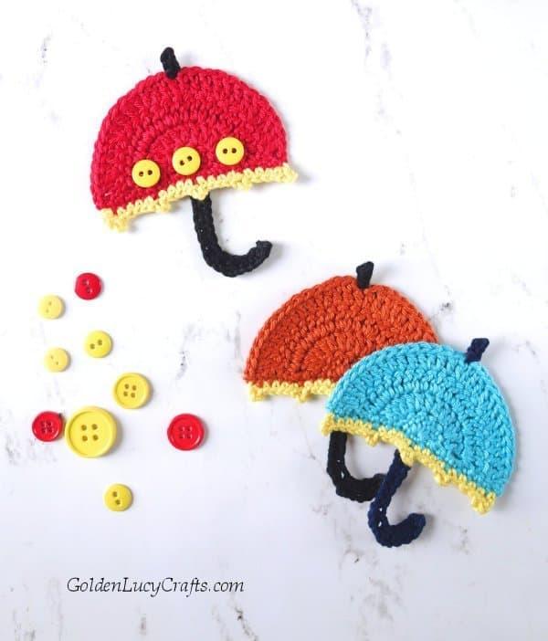 Crochet Umbrella appliques, craft buttons