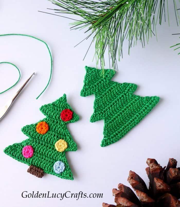 Christmas tree crochet ornament