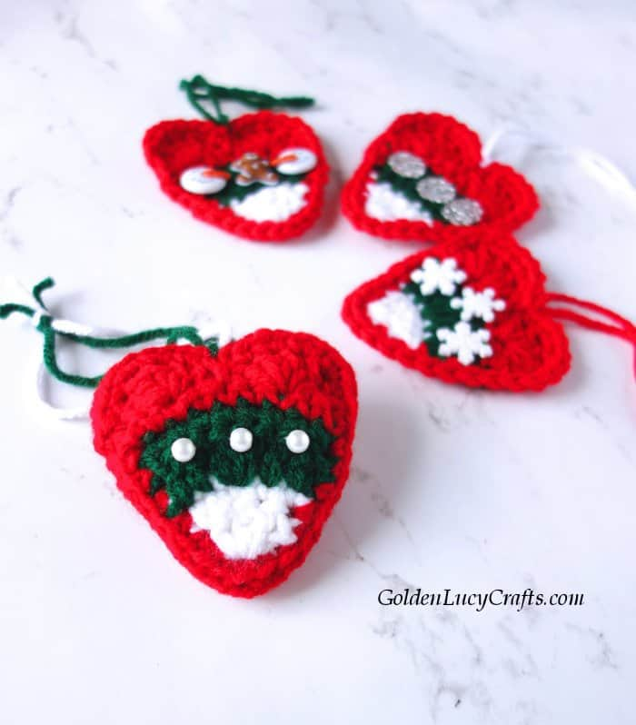 Crochet Christmas ornament, DIY, candy corn heart
