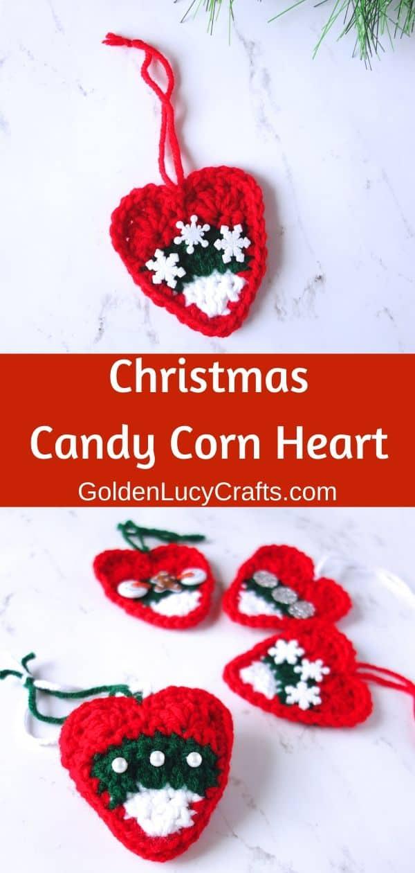 Crochet Christmas ornament, DIY heart ornament, Christmas tree decoration, Christmas candy corn ornament