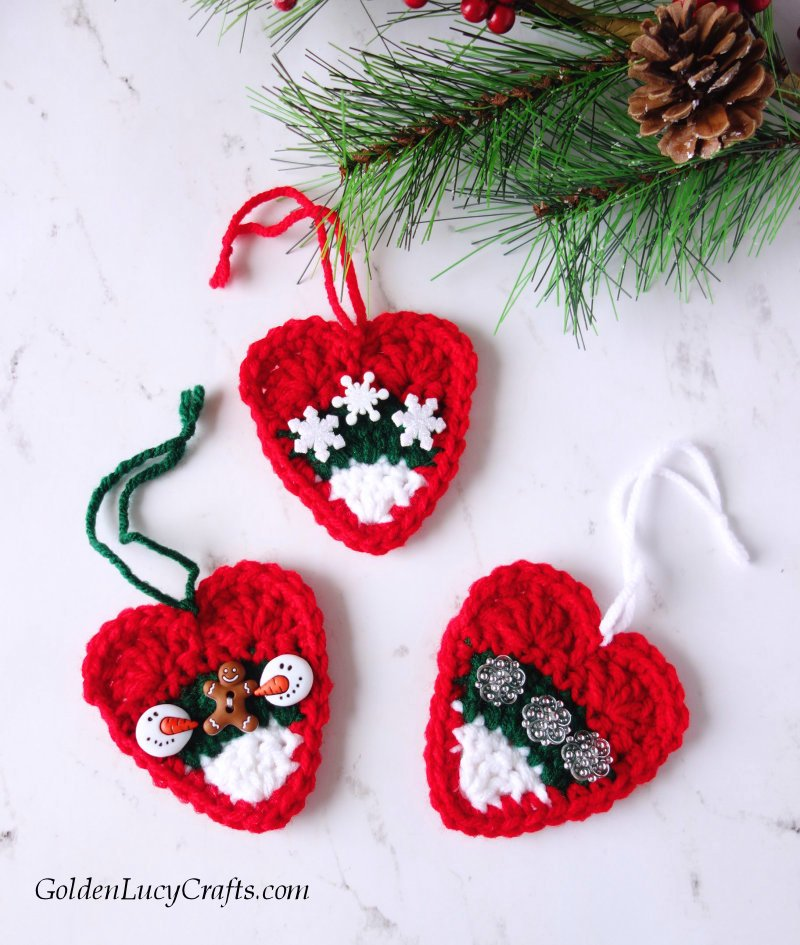Crochet Christmas ornament, DIY heart ornament, Christmas tree decoration, Christmas candy corn ornament