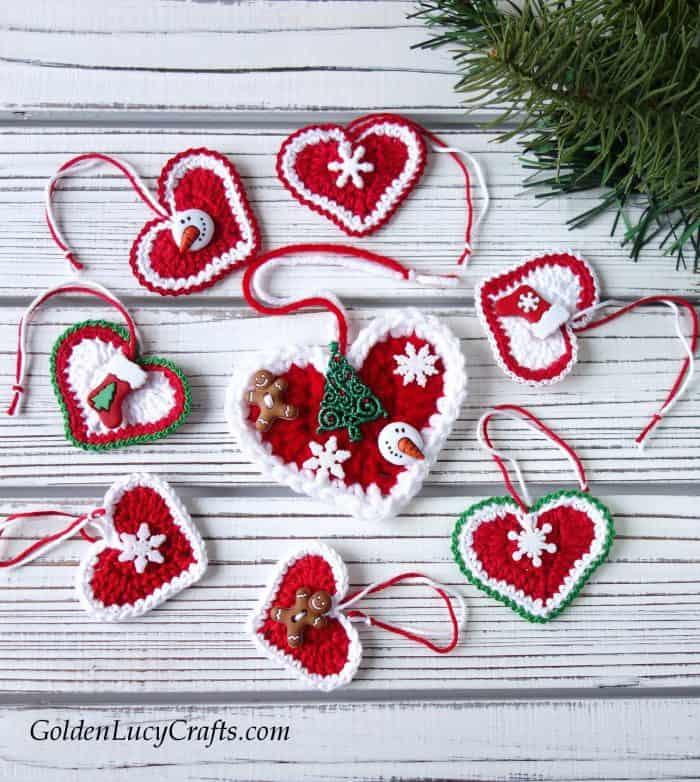 Crochet ornaments - Christmas hearts