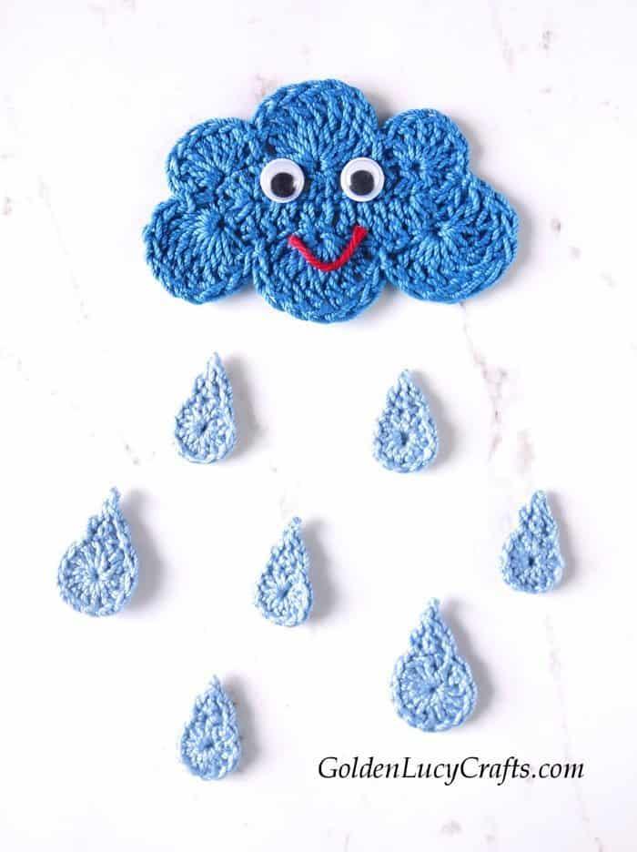 Crochet Cloud and Raindrops applique