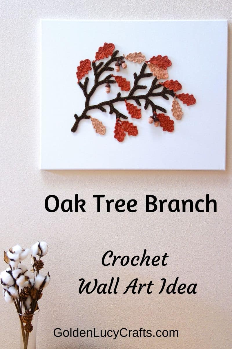 Crochet Fall wall art idea - Oak tree branch, acorns, Autumn
