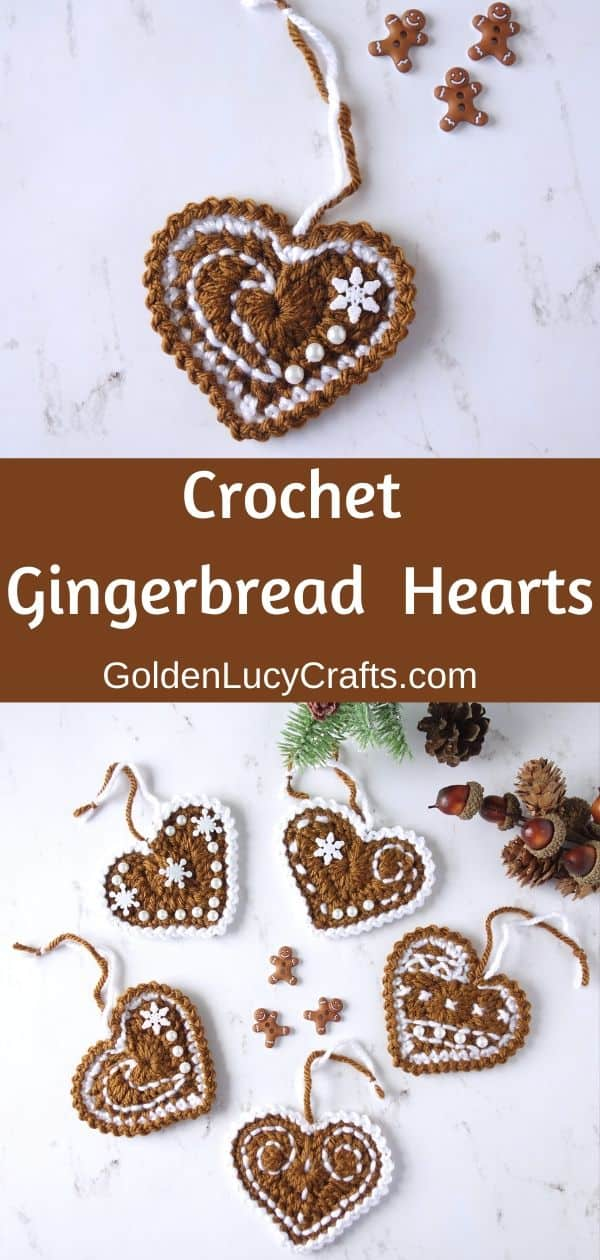 Crochet Gingerbread Heart, Christmas ornaments, holiday decorations, free crochet pattern
