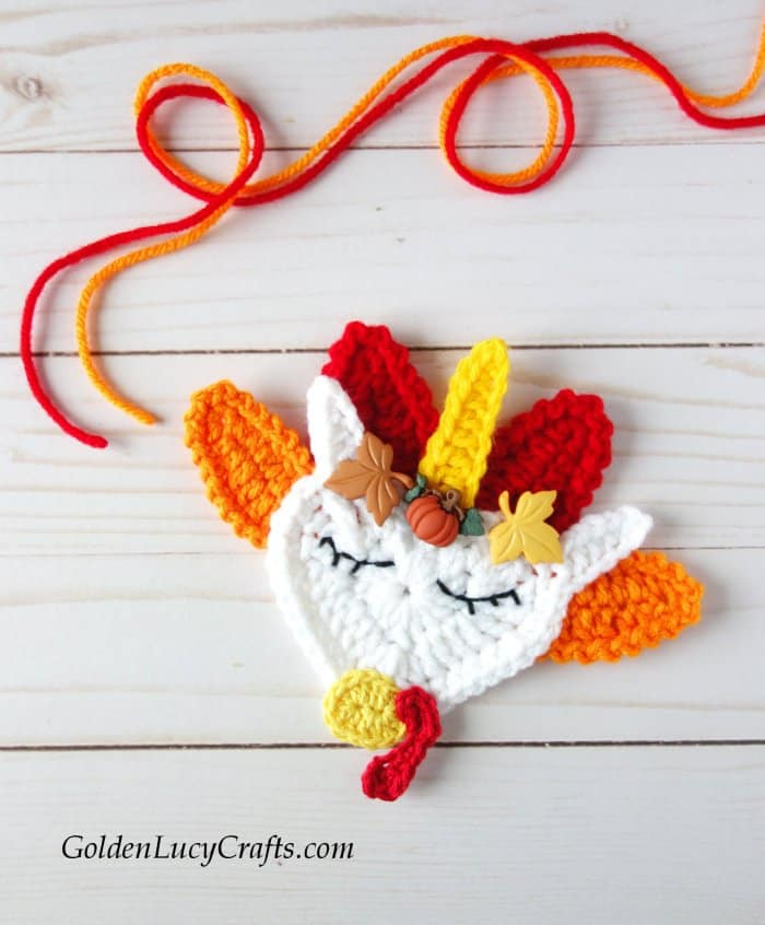 Crochet Thanksgiving decoration, turkey, unicorn, applique, free pattern