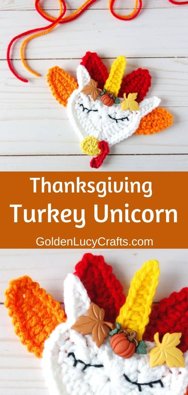 Crochet Thanksgiving turkey, unicorn, decoration, applique, free pattern