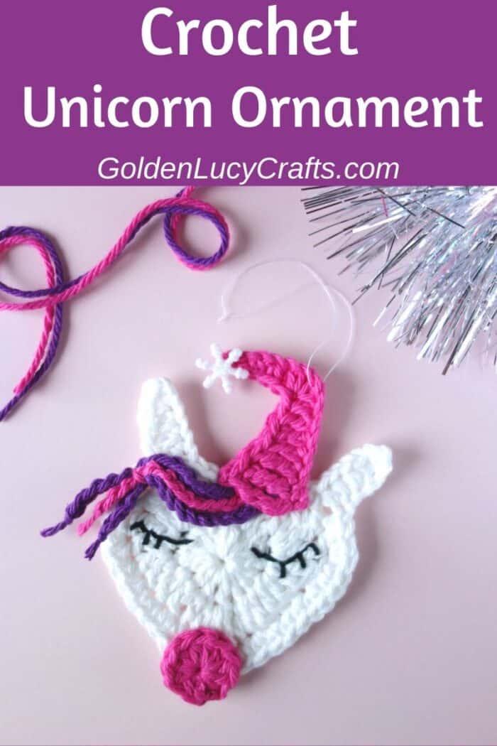 Crochet Unicorn Christmas ornament, free crochet pattern, DIY, Unicorn tree decoration idea, unicorn applique