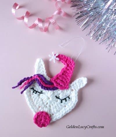 Crochet Unicorn Christmas ornament free crochet pattern, DIY, Unicorn tree decoration idea