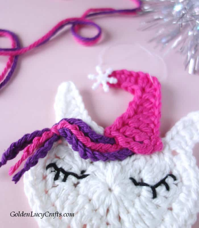 Crochet Unicorn Christmas ornament free crochet pattern, DIY, Unicorn tree decoration idea