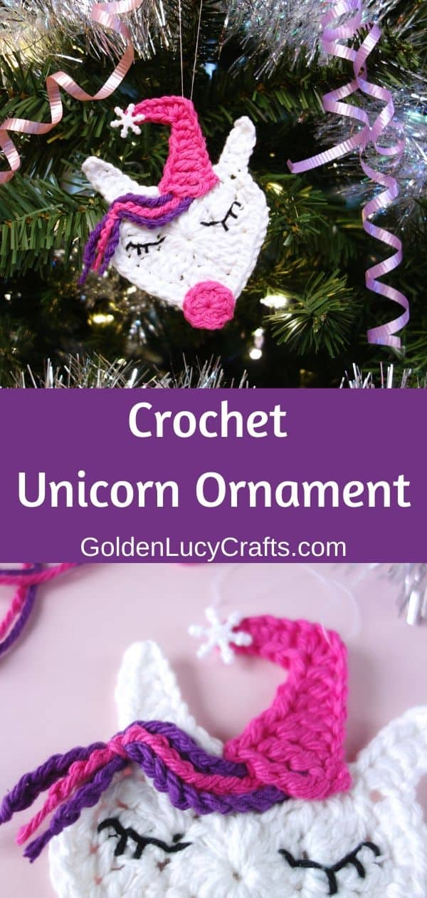 Crochet Unicorn ornament, Christmas tree decoration, free crochet pattern, DIY, Unicorn tree decoration idea