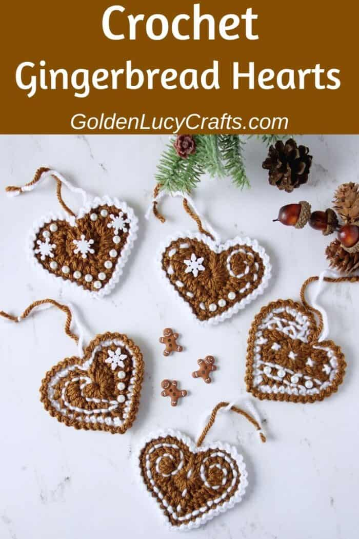 Crochet gingerbread hearts, Christmas ornament, free pattern