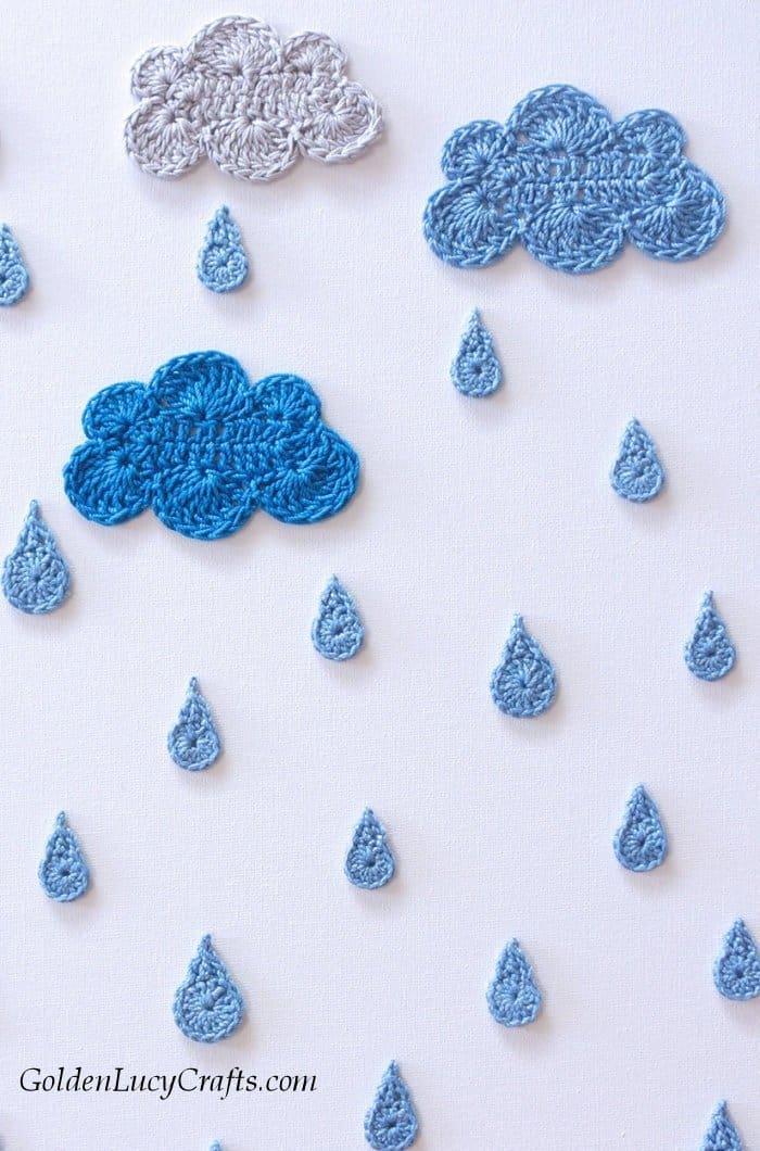 Crochet wall art, wall decor idea - Rainy Day