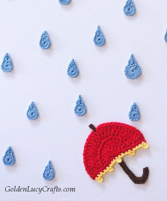 Rainy Day - crochet wall art, wall decor, wall hanging