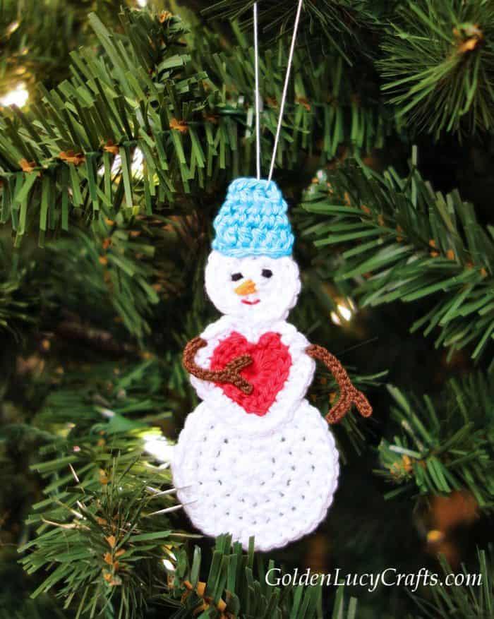 Snowman ornament crochet pattern free