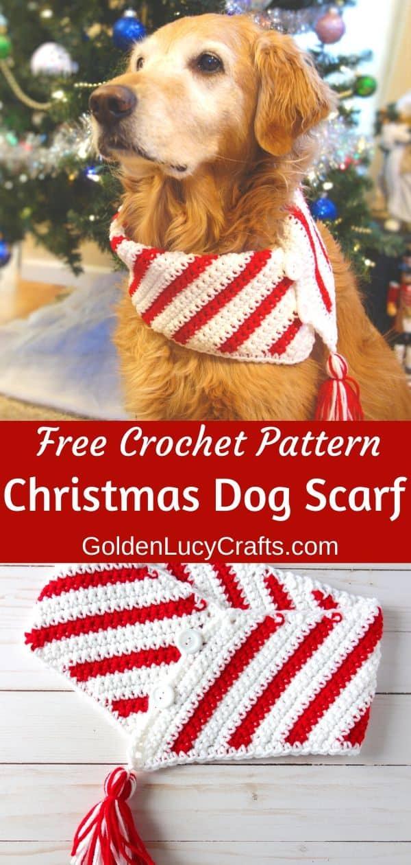 Crochet Christmas dog scarf, DIY, crochet for pets, bandana, cowl, neckwarmer, free crochet pattern