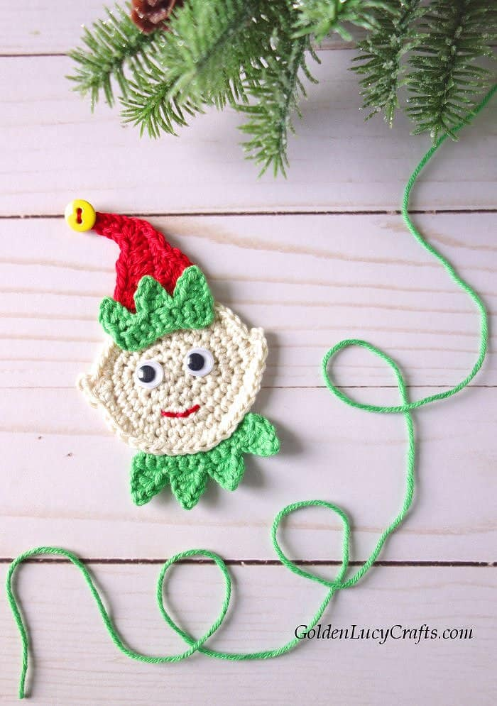 Crochet Elf, free pattern, applique, ornament, Christmas elf