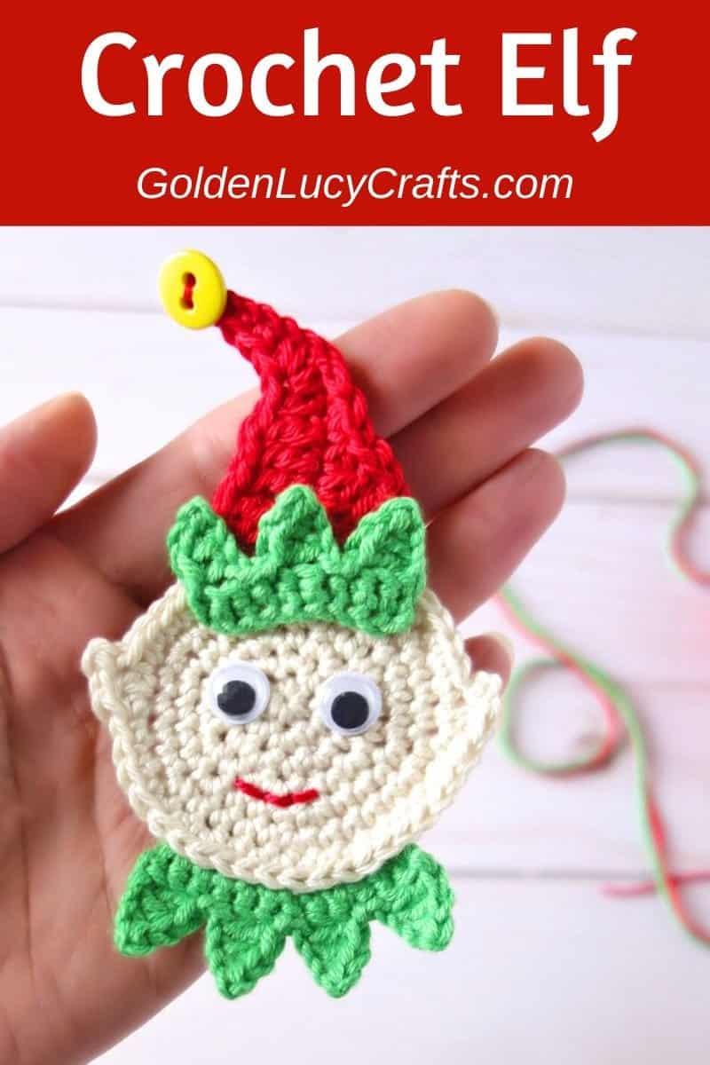 Crochet Elf ornament or applique, free crochet pattern
