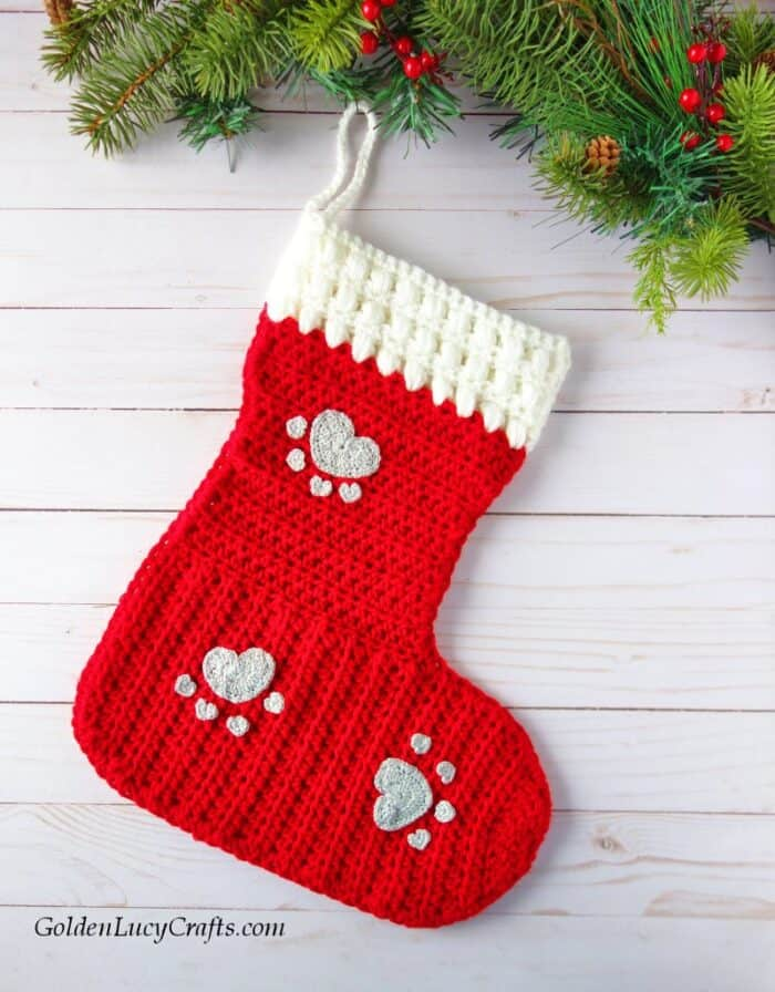 Crochet dog stocking embellished with heart paw appliques, Christmas, cat, pets