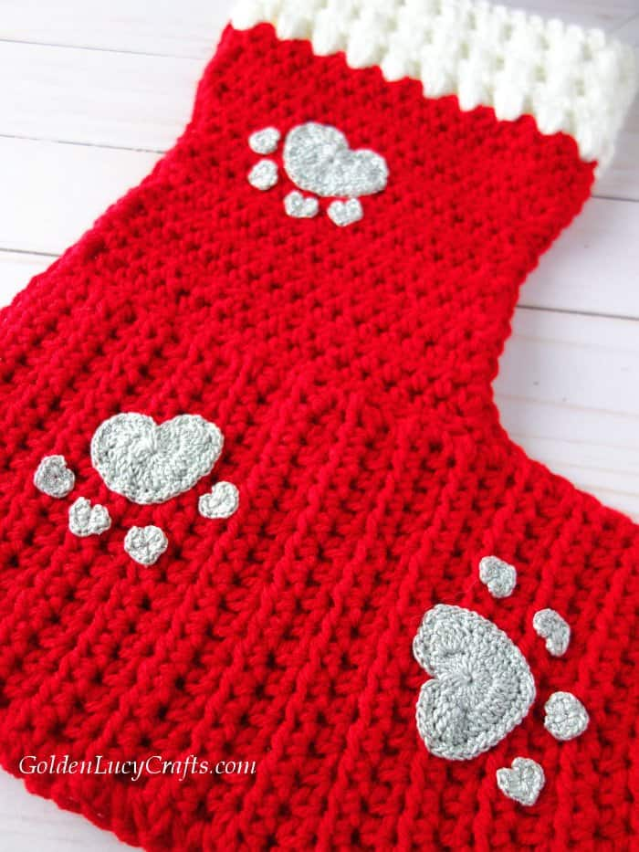 Crochet dog stocking embellished with heart paw appliques, Christmas, cat, pets, free crochet pattern