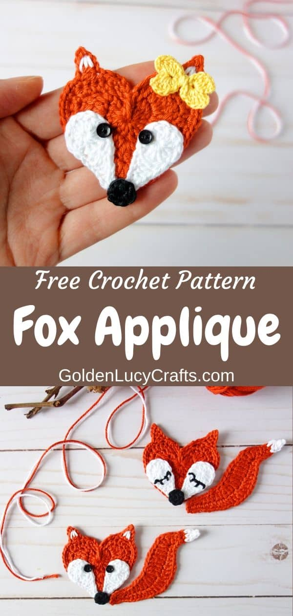 Crochet fox applique, free crochet pattern, heart shaped fox, Valentine's Day applique