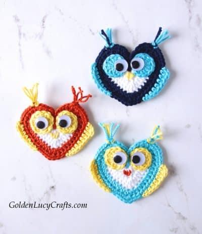 Crochet Owl applique, free crochet pattern, heart owl, Valentine's Day, owl motif, crochet applique, crochet embellishment