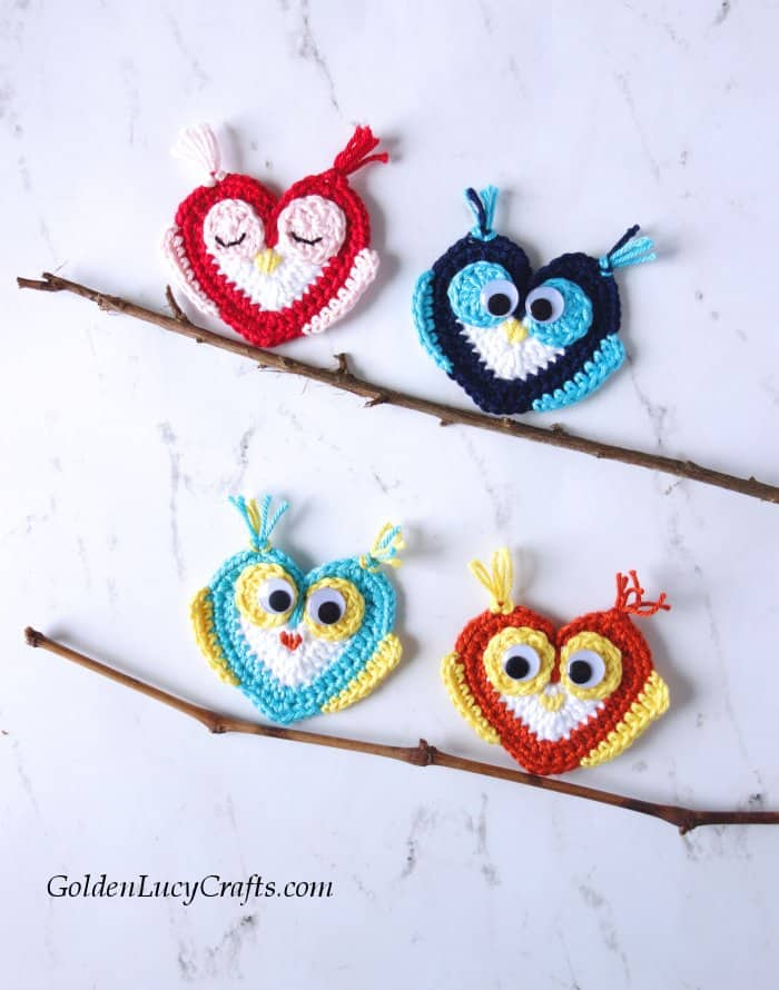 How to crochet Owl applique, free crochet pattern, heart owl, Valentine's Day, owl motif, crochet applique, crochet embellishment
