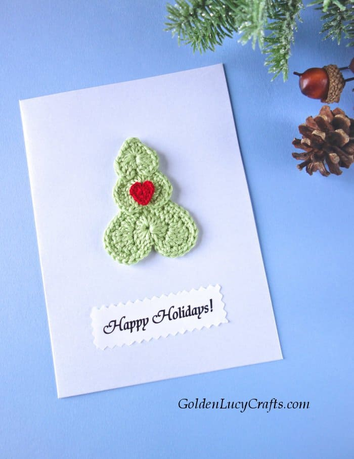Diy Christmas card, handmade cards embellished with crochet appliques