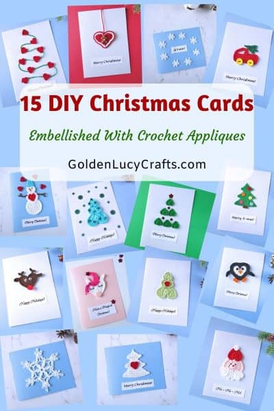DIY Christmas card ideas embellished with crochet appliques, handmade card, homemade card