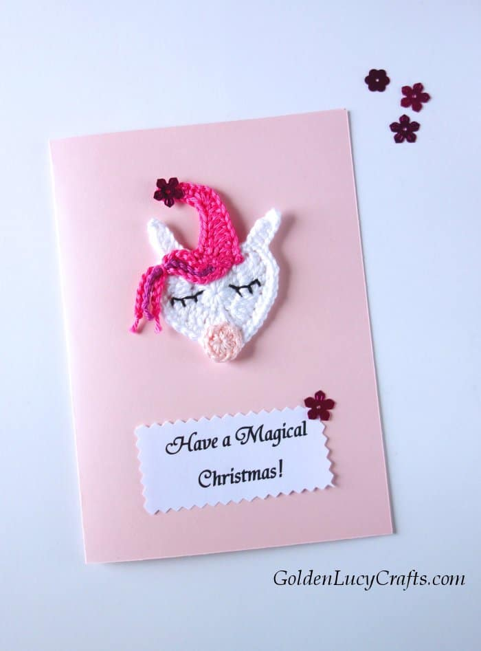 Diy Christmas card, handmade cards embellished with crochet appliques, unicorn