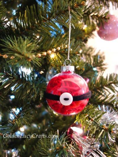 Clear ball filled with red yarn Christmas ornament
