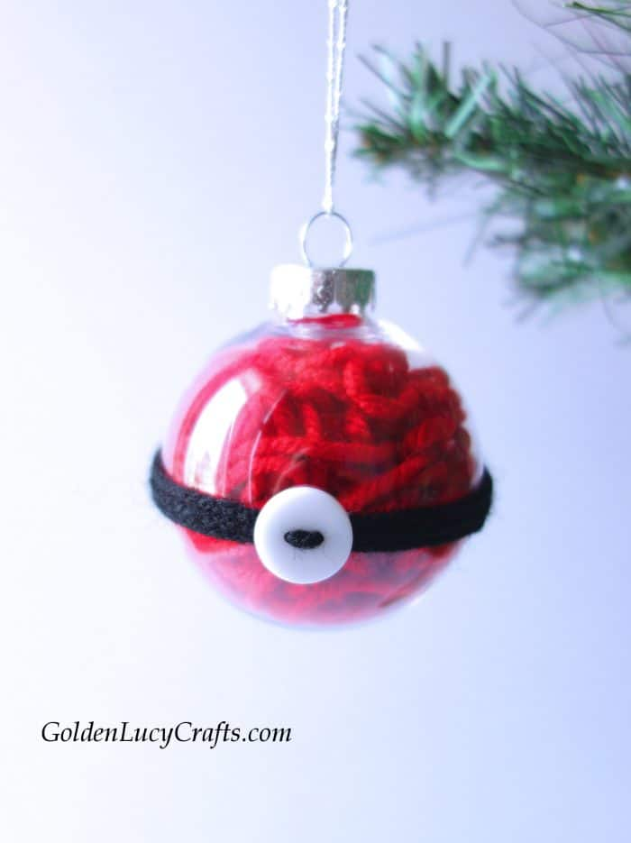 DIY clear ball Christmas ornaments idea, yarn-filled ornaments, Santa, handmade Christmas